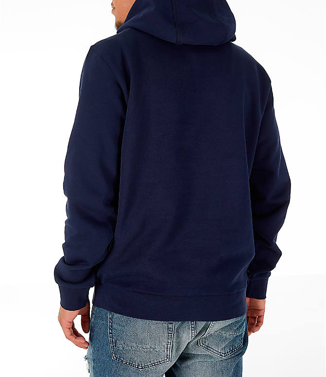Back Left view of Men's Lacoste Allover Print Hoodie in Navy Blue