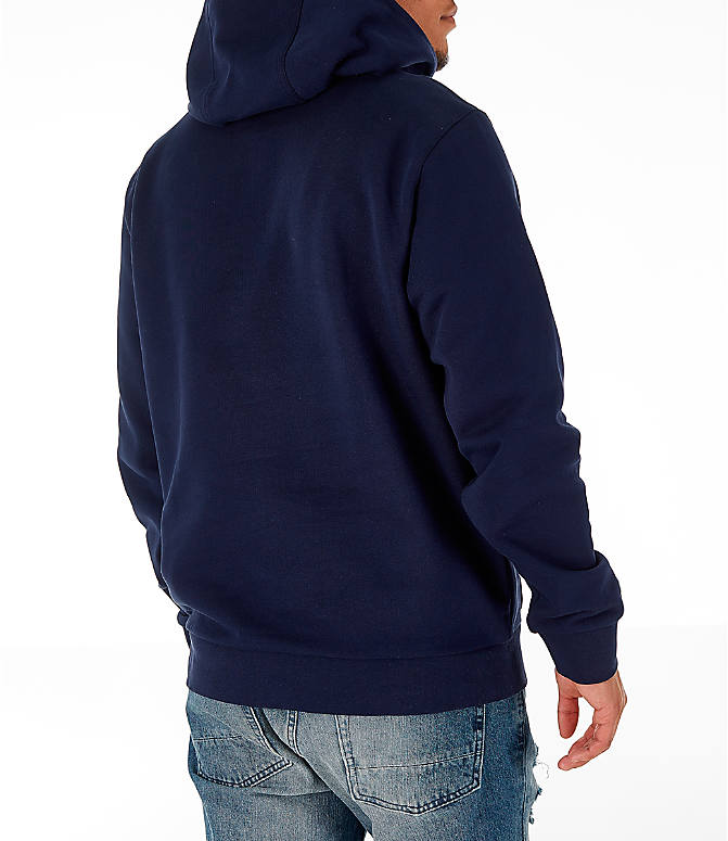 Back Right view of Men's Lacoste Allover Print Hoodie in Navy Blue