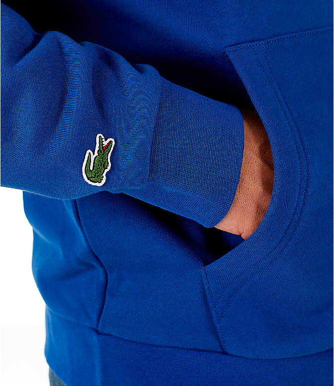 Detail 2 view of Men's Lacoste Allover Print Hoodie in Blue
