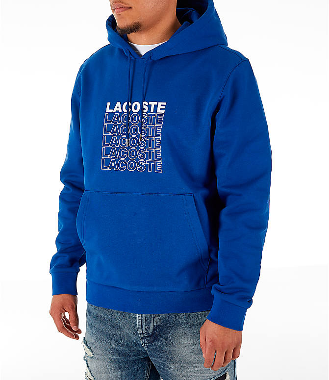 Front Three Quarter view of Men's Lacoste Allover Print Hoodie in Blue