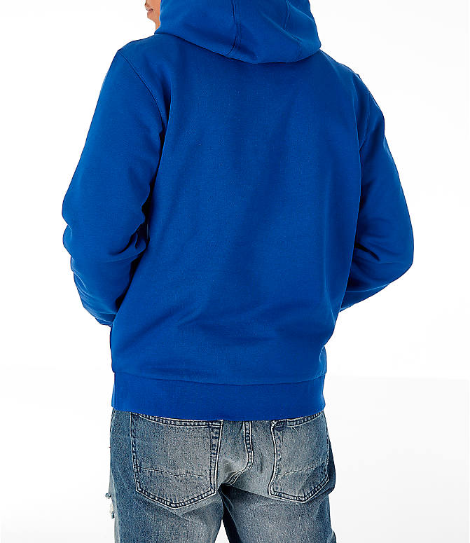 Back Left view of Men's Lacoste Allover Print Hoodie in Blue