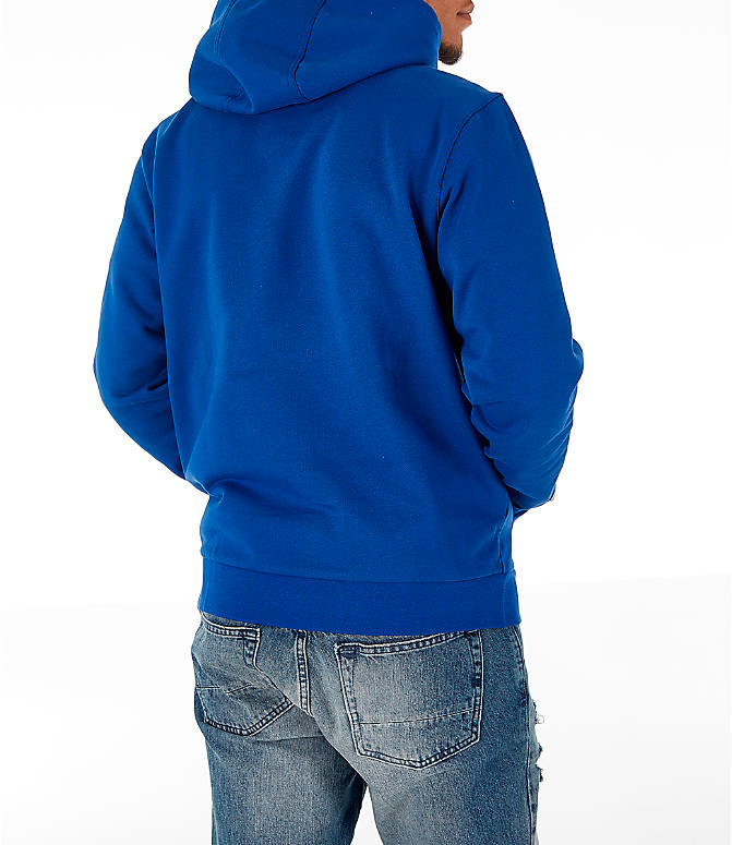 Back Right view of Men's Lacoste Allover Print Hoodie in Blue