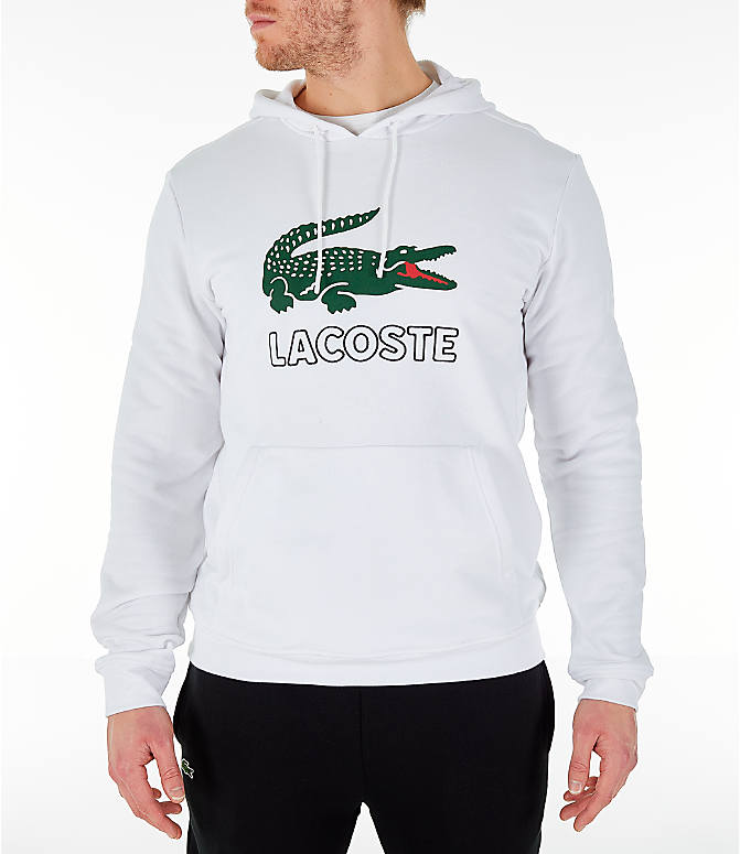 Front view of Men's Lacoste Big Croc Script Hoodie in White