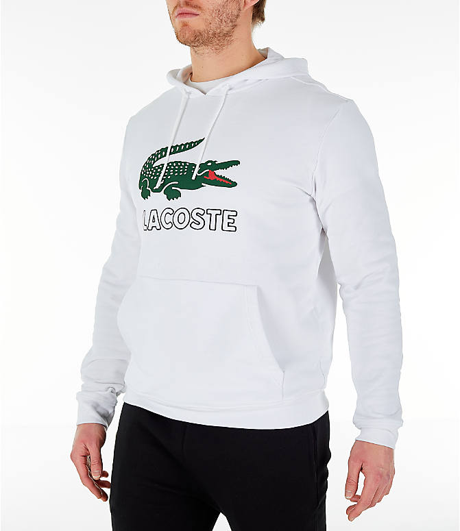 Front Three Quarter view of Men's Lacoste Big Croc Script Hoodie in White