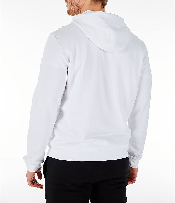 Back Left view of Men's Lacoste Big Croc Script Hoodie in White