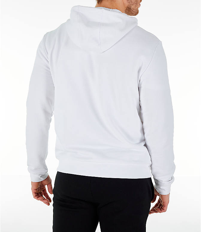 Back Right view of Men's Lacoste Big Croc Script Hoodie in White