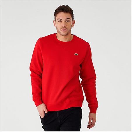 Lacoste T-shirts LACOSTE MEN'S CORE CREWNECK SWEATSHIRT IN RED SIZE 2X-LARGE FLEECE