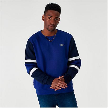 Lacoste T-shirts LACOSTE MEN'S COLORBLOCK CREWNECK SWEATSHIRT IN BLUE SIZE 2X-LARGE FLEECE