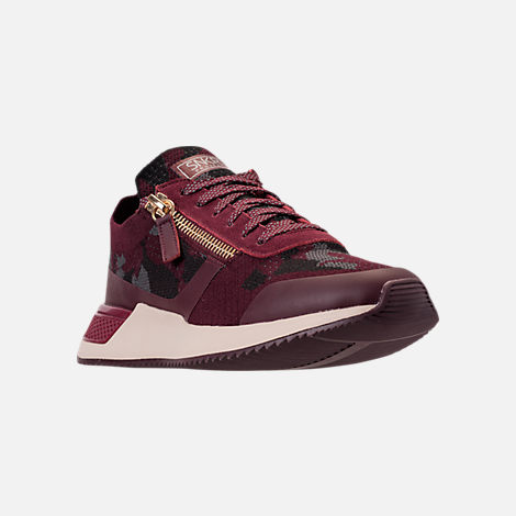 Three Quarter view of Men's SNKR Project Rodeo 2.0 Casual Shoes in Burgundy Camo/White