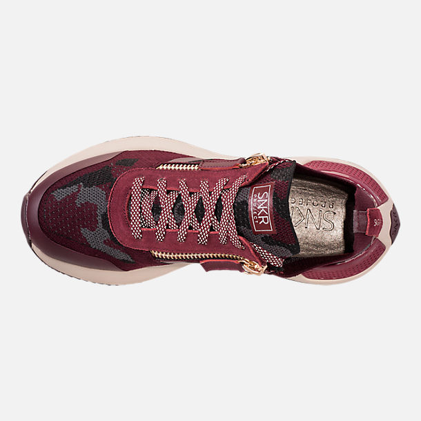 Top view of Men's SNKR Project Rodeo 2.0 Casual Shoes in Burgundy Camo/White