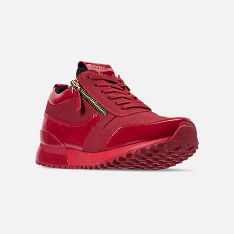 Three Quarter view of Men's SNKR Project Rodeo Casual Shoes in Red Mono