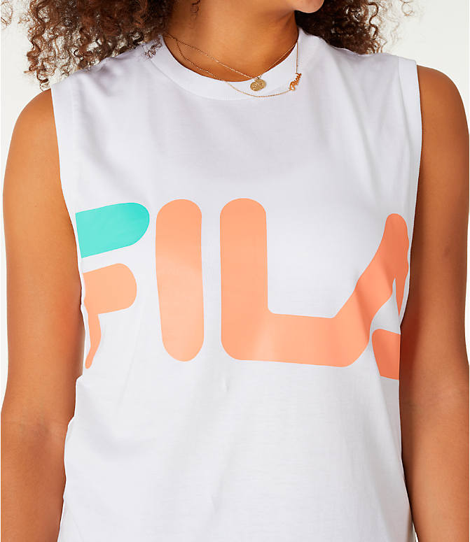 Detail 1 view of Women's Fila Sesto Sleeveless Muscle Tank in White/Peach/Green