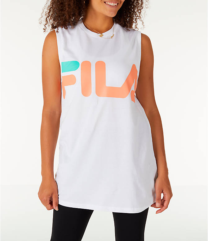 Front view of Women's Fila Sesto Sleeveless Muscle Tank in White/Peach/Green
