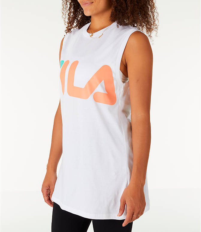 Front Three Quarter view of Women's Fila Sesto Sleeveless Muscle Tank in White/Peach/Green