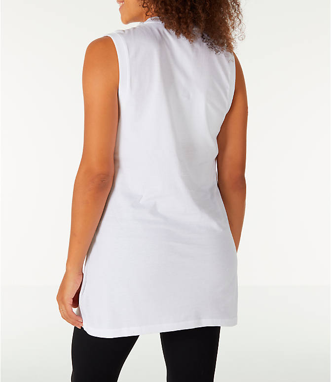 Back Left view of Women's Fila Sesto Sleeveless Muscle Tank in White/Peach/Green