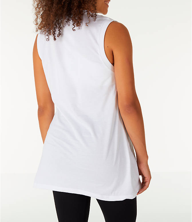 Back Right view of Women's Fila Sesto Sleeveless Muscle Tank in White/Peach/Green