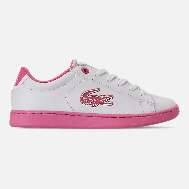 Right view of Girls' Little Kids' Lacoste Carnaby EVO 319 Casual Shoes in White/Pink