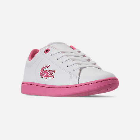 Three Quarter view of Girls' Little Kids' Lacoste Carnaby EVO 319 Casual Shoes in White/Pink