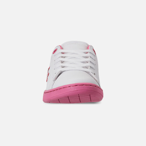 Front view of Girls' Little Kids' Lacoste Carnaby EVO 319 Casual Shoes in White/Pink