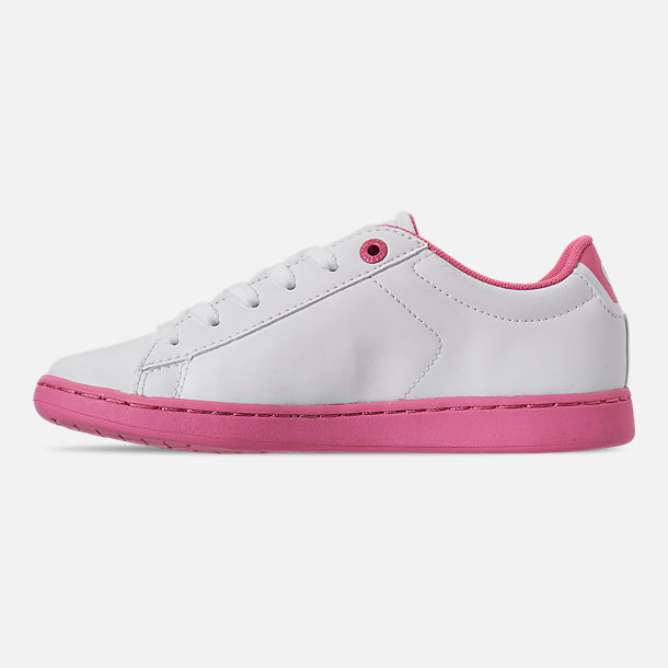 Left view of Girls' Little Kids' Lacoste Carnaby EVO 319 Casual Shoes in White/Pink
