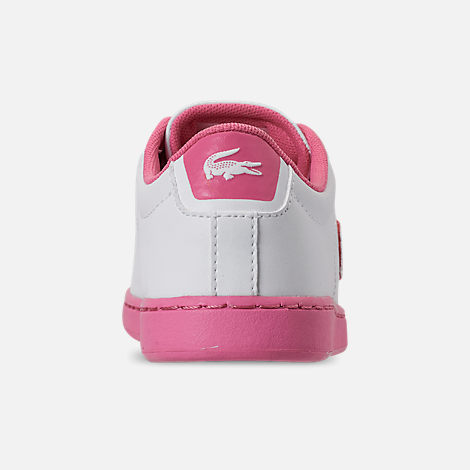Back view of Girls' Little Kids' Lacoste Carnaby EVO 319 Casual Shoes in White/Pink