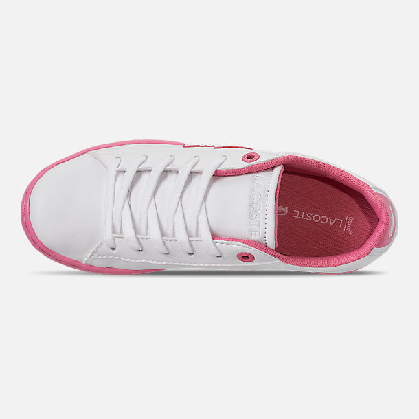 Top view of Girls' Little Kids' Lacoste Carnaby EVO 319 Casual Shoes in White/Pink