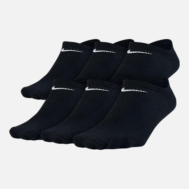 Front view of Women's Nike Lightweight No Show Socks 6-Pack in Black/White