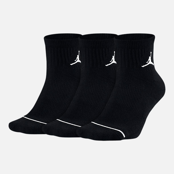 Front view of Jordan Jumpman 3-Pack Quarter Socks in Black/Black/Black