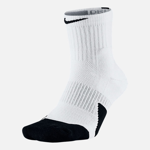 Back view of Unisex Nike Elite 1.5 Mid Basketball Socks in White/Black