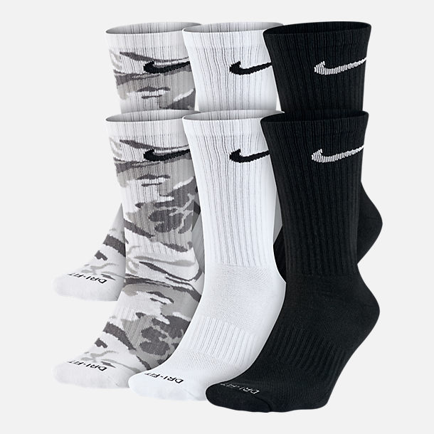 Front view of Unisex Nike Dry Cushioned 6-Pack Crew Socks in White/Black/Print