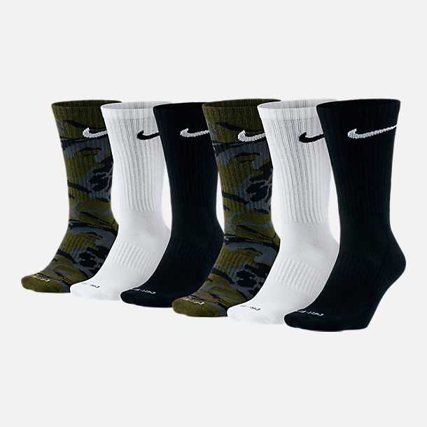 Front view of Unisex Nike Dry Cushioned 6-Pack Crew Socks in Green/Brown Camo/White/Black