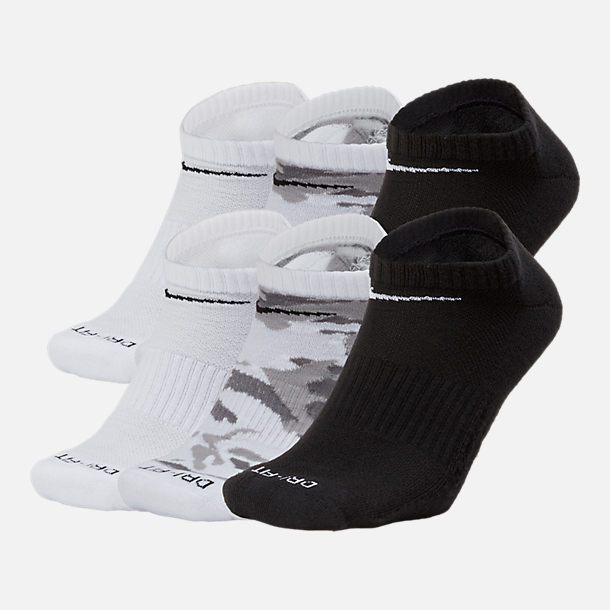 Front view of Unisex Nike Dry Cushioned 6-Pack No-Show Socks in White/Black/Grey