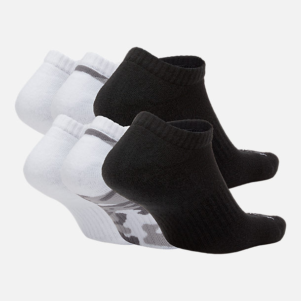 Back view of Unisex Nike Dry Cushioned 6-Pack No-Show Socks in White/Black/Grey