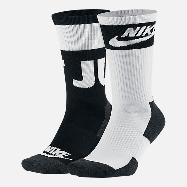 Front view of Men's Nike Sportswear Crew Socks - 2 Pack in Black/White