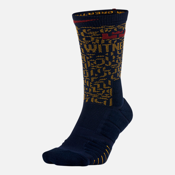 Front view of Unisex Nike LeBron Elite Quick Crew Basketball Socks in College Navy/University Gold