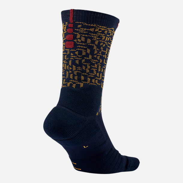 Back view of Unisex Nike LeBron Elite Quick Crew Basketball Socks in College Navy/University Gold