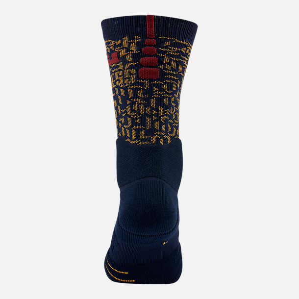 Alternate view of Unisex Nike LeBron Elite Quick Crew Basketball Socks in College Navy/University Gold