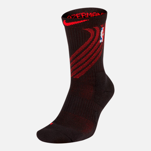 Front view of Unisex Nike Portland Trail Blazers NBA City Edition Elite Crew Basketball Socks in Team Colors