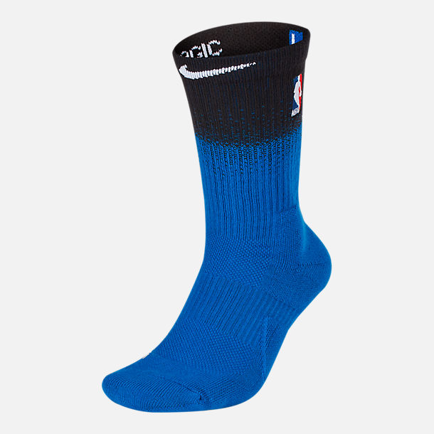 Front view of Unisex Nike Orlando Magic NBA City Edition Elite Crew Basketball Socks in Team Colors