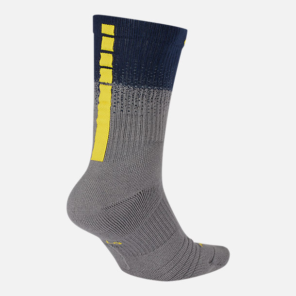 Back view of Unisex Nike Indiana Pacers NBA City Edition Elite Crew Basketball Socks in Team Colors