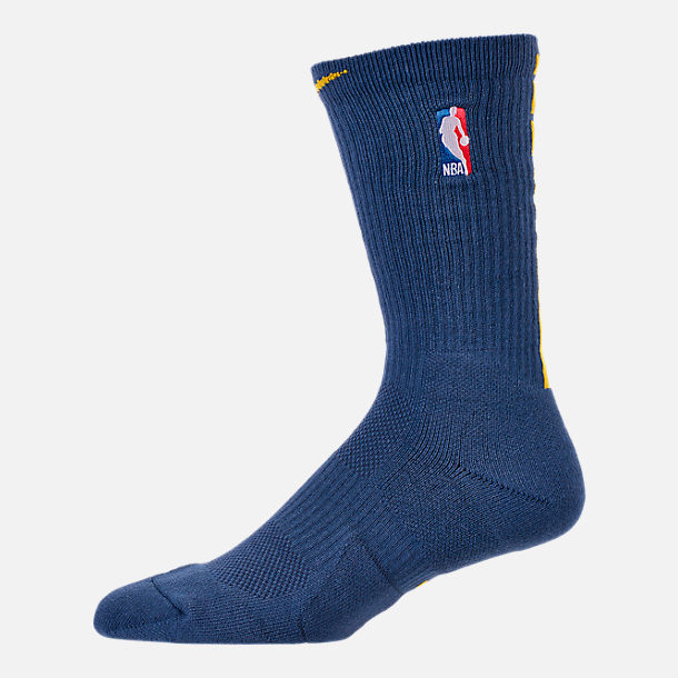 Back view of Unisex Nike Golden State Warriors NBA City Edition Elite Crew Basketball Socks in Team Colors