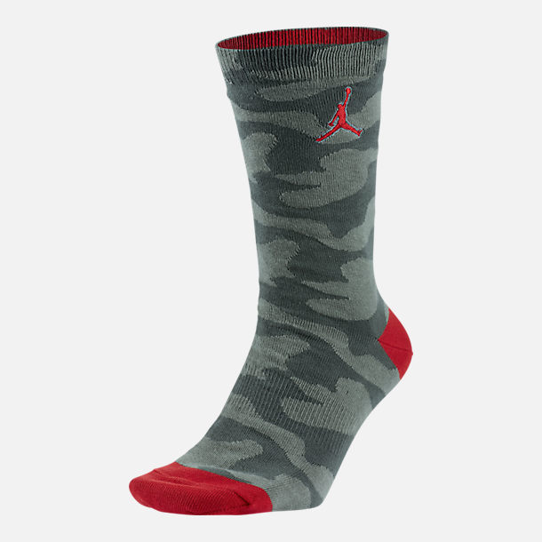 Front view of Unisex Jordan P51 Crew Socks in Dark Stucco/Red