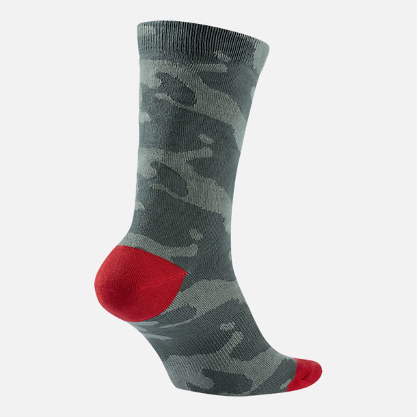 Back view of Unisex Jordan P51 Crew Socks in Dark Stucco/Red