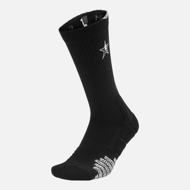 Back view of Unisex Nike NBA All-Star Edition Quick Crew Socks in Black