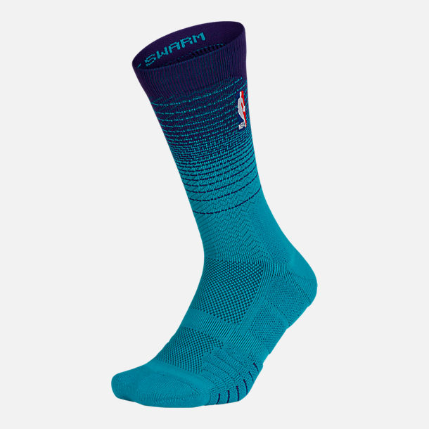 Back view of Unisex Nike Charlotte Hornets NBA Elite City Edition Quick Crew Basketball Socks