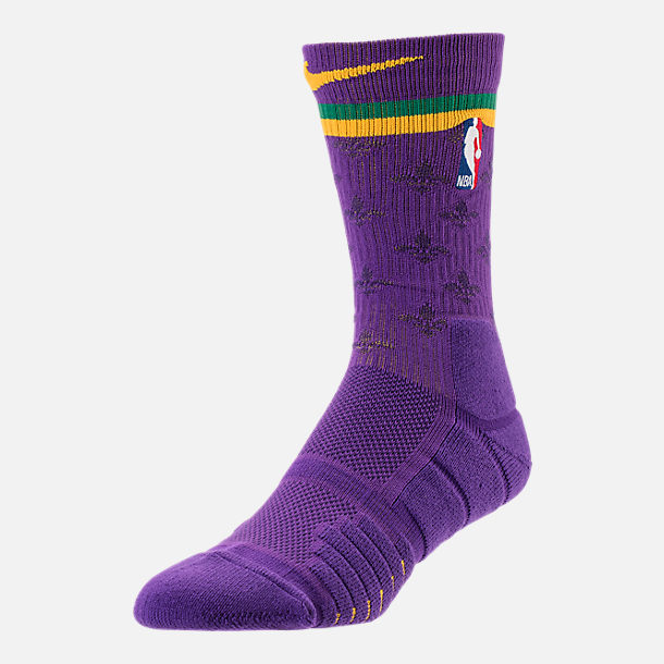 Back view of Unisex Nike New Orleans Pelicans NBA Elite City Edition Quick Crew Basketball Socks