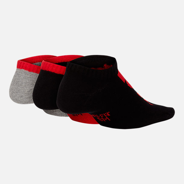 Back view of Kids' Nike Performance Lightweight 3-Pack Low Training Socks in Red/Black/Grey
