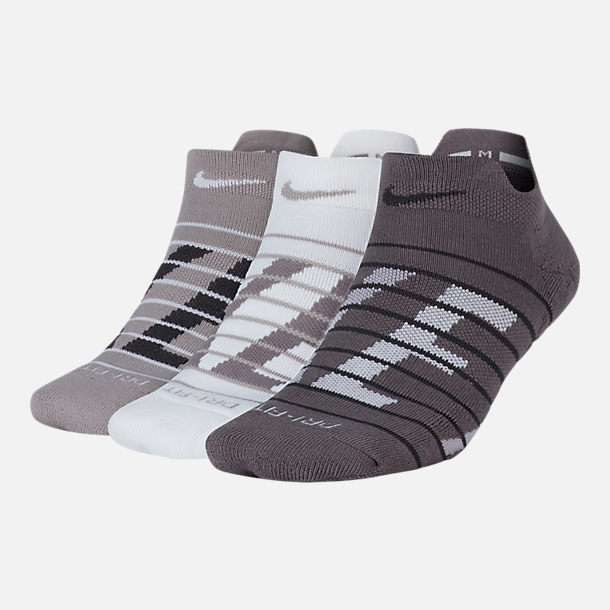 Front view of Women's Nike Dry Cushioned 3-Pack Low Training Socks in Multi/Grey/White