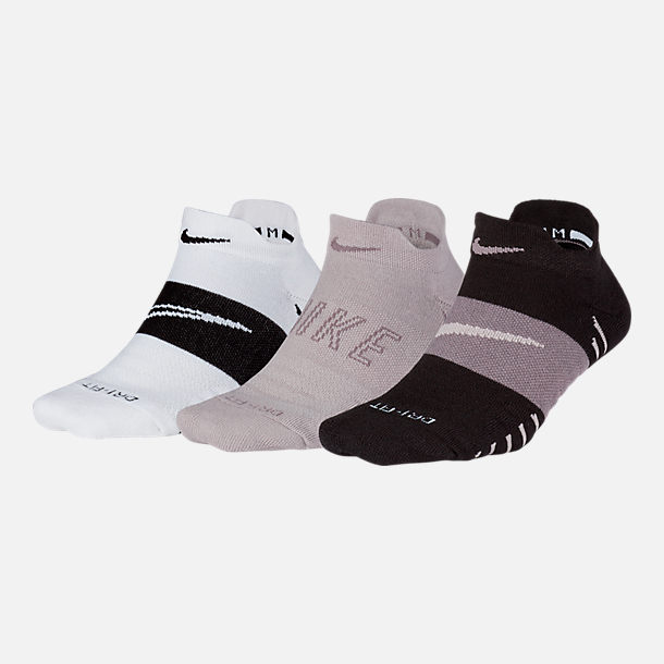 Front view of Women's Nike Dry Cushion Low Training Socks - 3 Pack in White/Black/Grey
