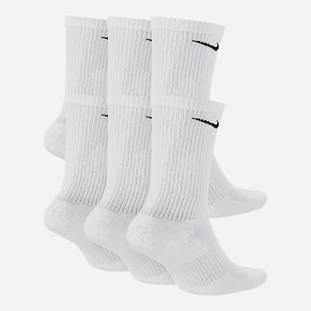 Back view of Nike Everyday Plus Cushioned 6-Pack Crew Training Socks in White/Black